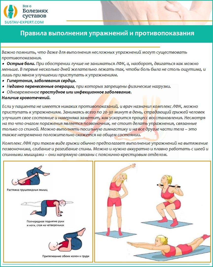 Правила выполнения упражнений и противопоказания