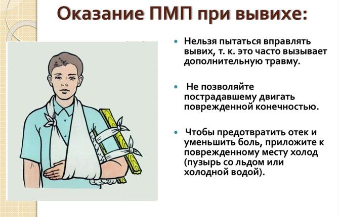 Первая помощь при вывихе плеча